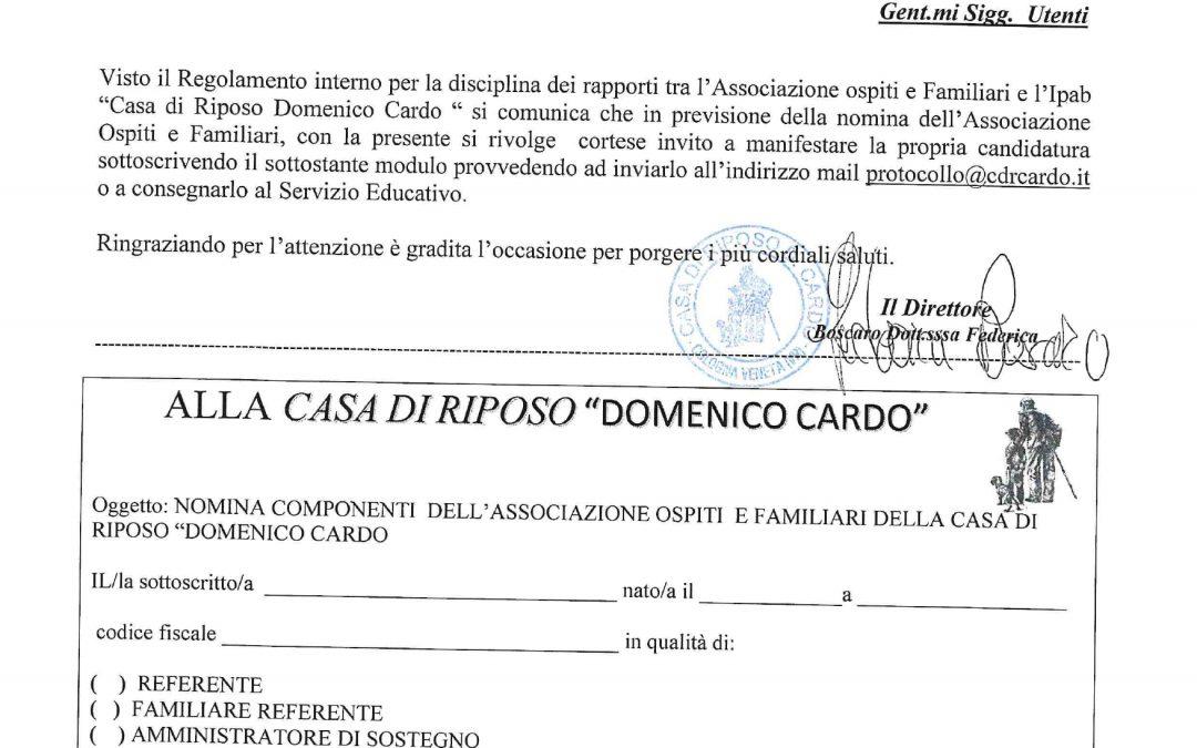 """NOMINA COMPONENTI DELL'ASSOCIAZIONE OSPITI E FAMILIARI DELLA CASA DI RIPOSO """"DOMENICO CARDO"""""""